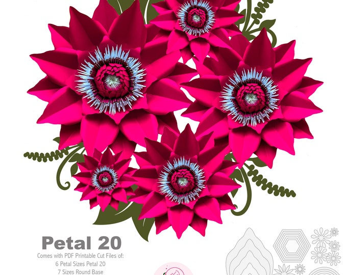 PDF Petal 20 Printable Digital Instant download Paper Flowers Template to make unlimited Flowers w/ 2 Flat center designs & 2 Bases designs