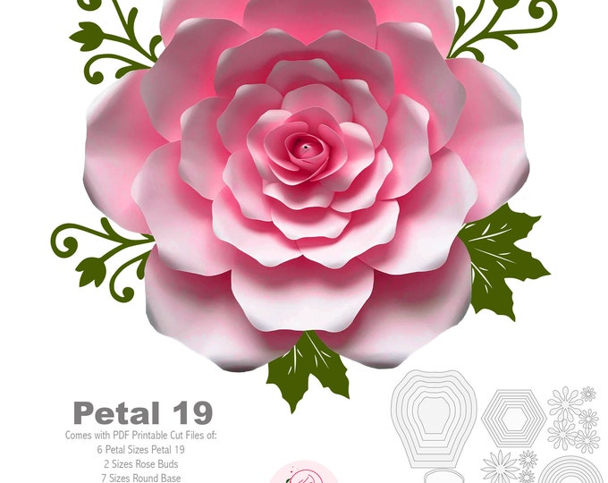 PDF Petal 19 Paper Flowers template w/ Rose Bub Center Instant Download Printable Cut Files for trace Stencil DIY 19-23 inches Rose Craft