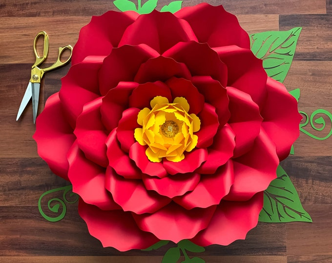 SVG PNG DXF Petal 26 Cut Files  Paper Flowers Template for cutting machine no resizing needed Free Bases and Flat Centers