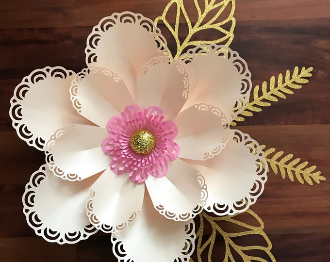 Paper Flowers - SVG Lace Petal #7 Paper Flower Template with Base, DIGITAL file for Cutting Machines Such as Cricut and Silhouette Cameo