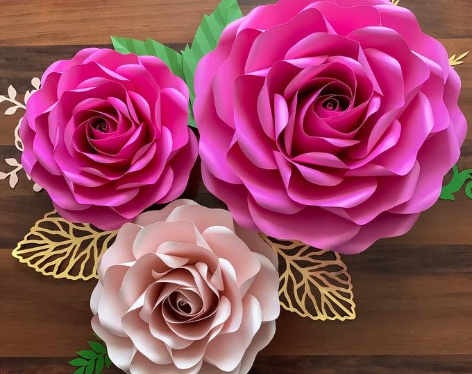 "PDF Paper Flowers Full Size Rose 6 Large and Medium Paper Flower Template- DIY Trace and Cut -Center Bud included (15-16"" and 19-21"")"