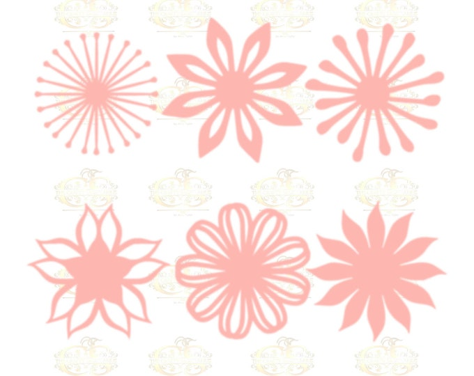 Set 8 SVG Png Dxf -6 different Flat Center for Paper Flowers- MACHINE use Only DIY and Handmade Giant Paper Flower Templates