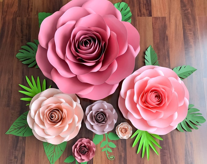 "Paper Flowers PDF Combo of 6 sizes Rose Paper Flower Template Printable for Trace and Cut Files to create 5""-29"" DIY Giant Paper Flowers"
