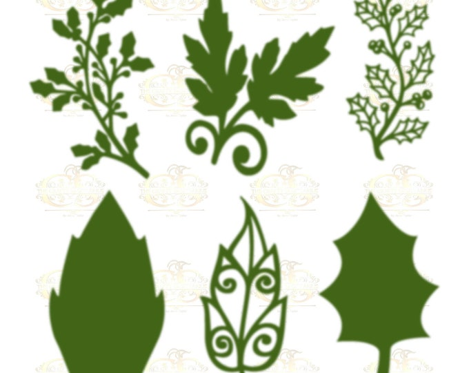Set 17 Svg PNG Dxf 6 designs Christmas set different Leaves for Paper Flowers- MACHINE use Only DIY and Handmade Leaves Templates