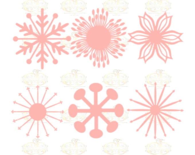 Set 5 SVG Png Dxf -6 different Flat Center for Paper Flowers- MACHINE use Only DIY and Handmade Giant Paper Flower Templates