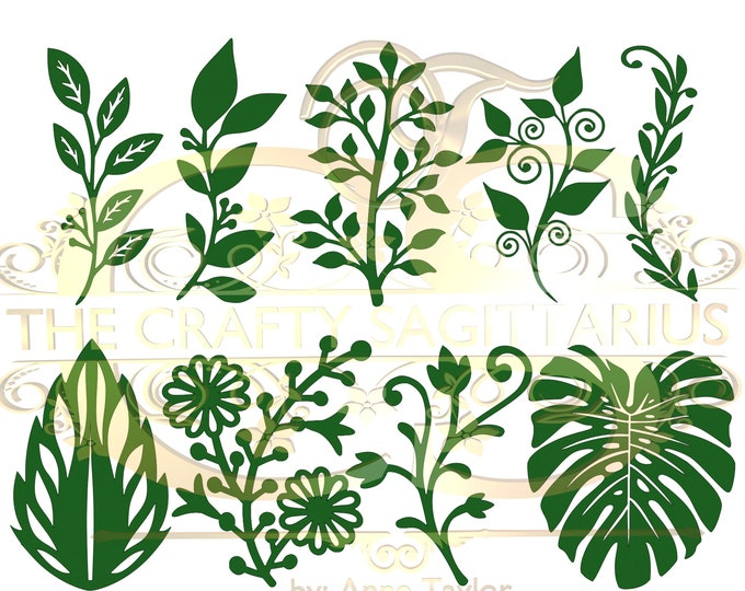 SVG PNG DXF Set 12 9 different Leaves for Paper Flowers Machine use Only Cricut and Silhouette Diy and Handmade Leaves Templates