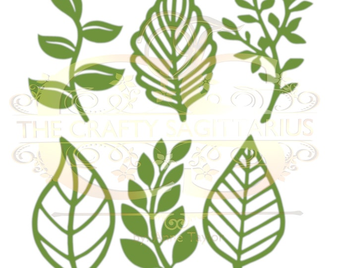 Set 9 SVG PNG DXF -6 different Leaves for Paper Flowers- Cutting machine use Only Cricut and Silhouette Diy and Handmade Leaves Templates