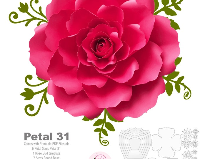 PDF Petal 31 Printable Giant Paper Flowers Template DIY Cut file to make unlimited Rose for wedding and party decors and flower backdrop