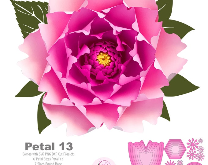 SVG PNG DXF Petal 13 Paper Flower Templates Cut files for Cutting Machines Such as Cricut and Silhouette Cameo Diy Paper Flowers project