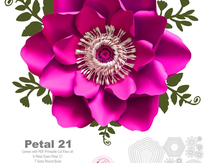 PDF PETAL 21 Paper Flowers UPDATED Template Printable to create 6 different Paper Flower Sizes + 5 Sizes Flat Center + 6 Sizes Base Diy art