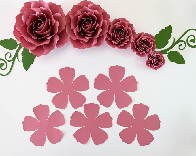 Paper Flowers  PDF Tiny Rose #12 Printable Paper Flower Templates Multiple sizes Trace and Cut Stencil: From The Crafty Sagittarius 6 Sizes