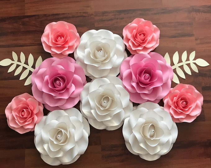 "Paper Flowers -PDF COMBO of Small and Mini Rose Paper Flower Template- Trace and Cut Files Center Bud included (8-9"" and 5-6"")"