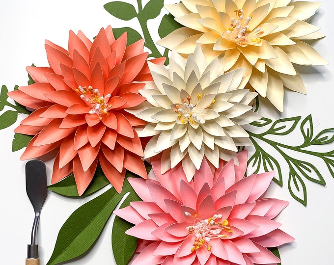 "SVG PNG DXF 4"" 6"" Mini Dahlia Instant Download Digital Cut files for Cricut and Silhouette machine Ideal for small arrangements and bouquet"