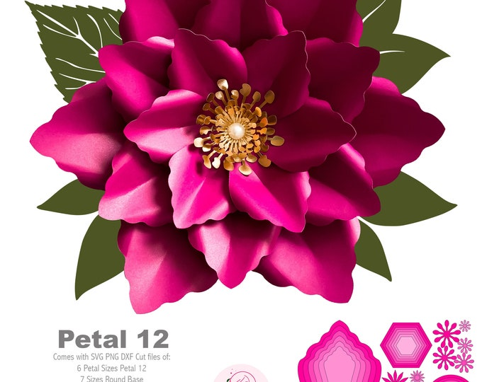 SVG PNG DXF Petal 12 Cut files Paper Flower Templates for Cutting Machines Giant Paper Flowers for Wedding & Events Paper Flower Wall