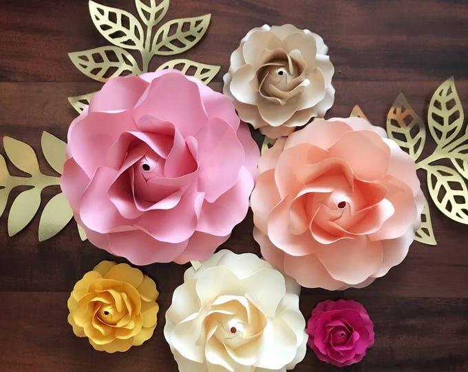 Paper Flowers - SVG Tiny Rose #1 Template, in 6 different sizes Digital DIY Handmade Paper Flowers - Cricut and Silhouette Machine Ready