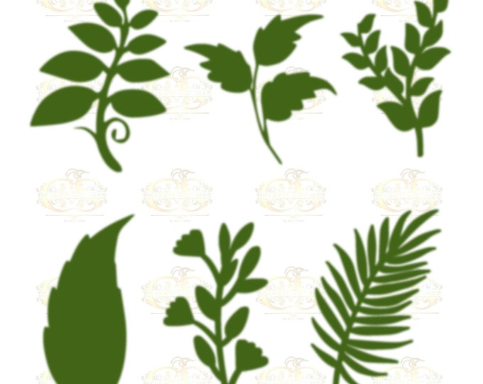 Set 26 Svg Png Dxf 6 different Leaves for Giant Paper Flowers MACHINE use Only Cricut and Silhouette DIY and Handmade Leaves Templates