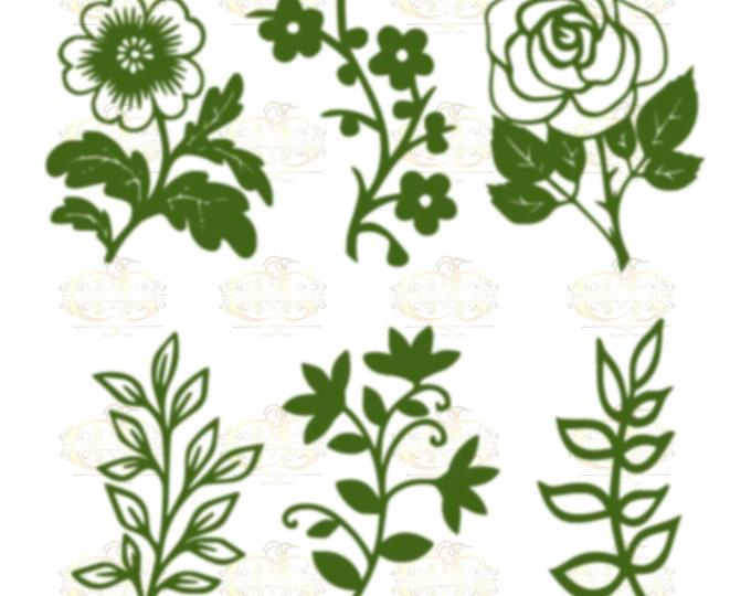 Set 35 Svg Png Dxf 6 different Leaves for Giant Paper Flowers MACHINE use Only Cricut and Silhouette DIY and Handmade Leaves Templates