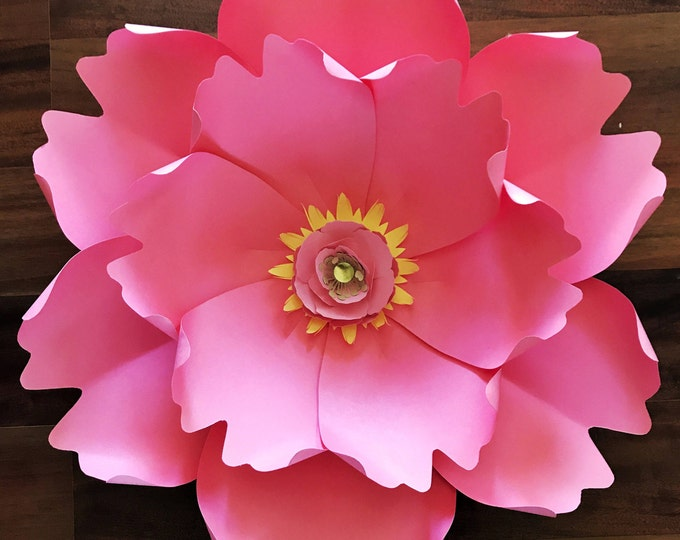 Paper Flowers -PDF Petal #13 Paper Flower Template, Digital Version, Including The Base - The Peony