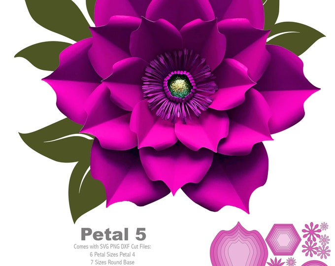 SVG PNG DXF Petal 5 Paper Flowers Template Flat Centers and Base Included Cut Files for Cricut Silhouette Machines for weddings and events