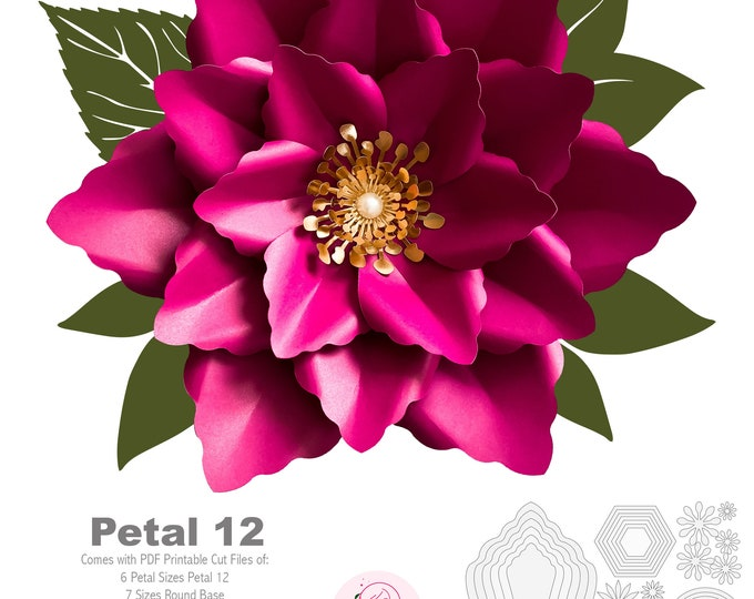 PDF Petal 12 Printable Paper Flowers Template Instant Download with bases n centers DIY craft trace and Cut instant download templates