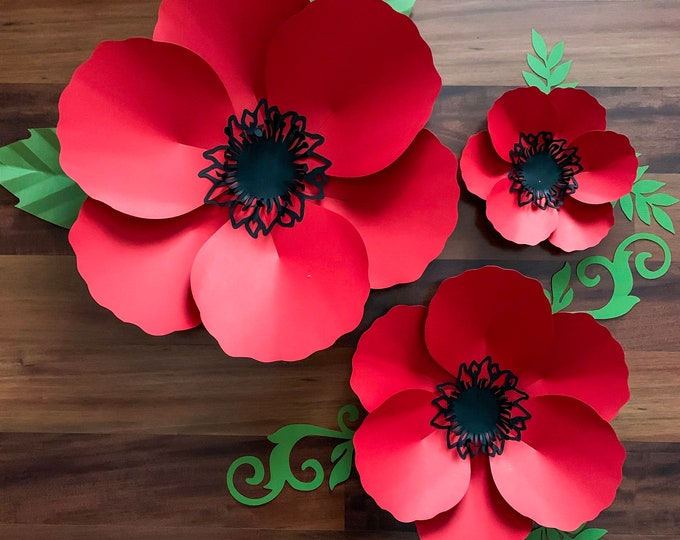 SVG DXF PNG Petal 60 Poppy Paper Flowers Template Cricut Silhouette Cutting Machines Ready Wedding and Event Decor and Paper Flower Backdrop