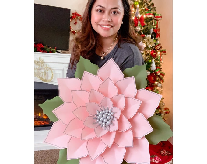 """SVG PNG DXF 25"""" Giant Paper Flower Christmas Poinsettia for Cricut Silhouette Cutting Machines Ready for Christmas Diy Decorations Projects"""
