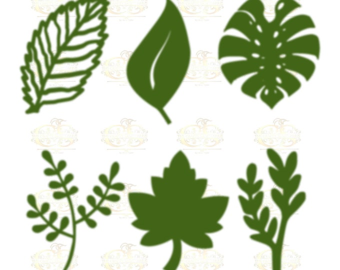 Set 5 Svg Png Dxf 6 different Leaves for Giant Paper Flowers MACHINE use Only Cricut and Silhouette DIY and Handmade Leaves Templates