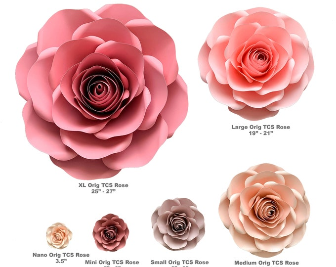 """Paper Flowers PDF Combo of 6 sizes Rose Paper Flower Template Printable for Trace and Cut Files to create 5""""-29"""" DIY Giant Paper Flowers"""