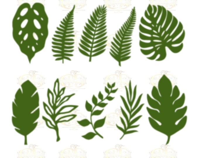 Set 14 SVG PNG DXF  10 different Tropical Leaves for Paper Flowers Machine use Only Cricut and Silhouette Diy and Handmade Leaves Templates