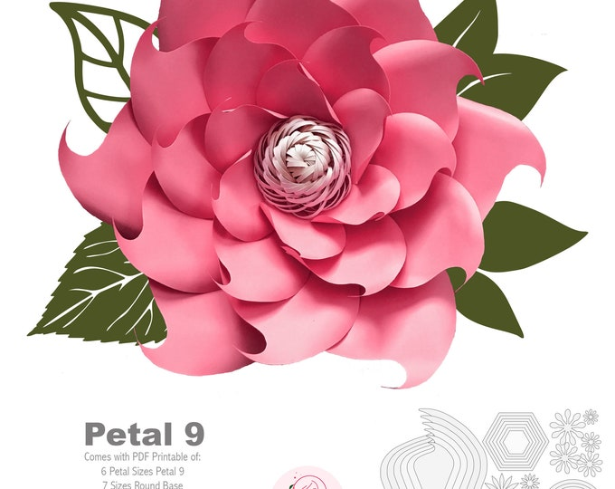 PDF Petal 9 Paper Flowers Template  with Base & Flat Center DIGITAL Version Printable Trace and Cut File for DIY Giant Paper Flower wedding