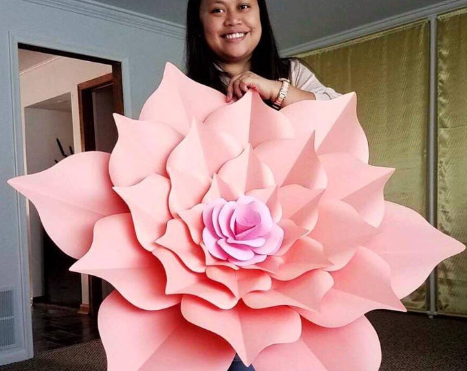 "PDF Giant 40 Inch Flower | The Rosa Mystica Paper Flower Template | Digital Version | Including The Base - Must be Printed in 11x17"" Paper"