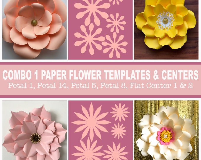 Combo 1 PDF Printable Giant Paper Flower Template | 3D Giant Paper Flowers Pattern Stencil + Centers | USD 30 worth | Save and Earn Party