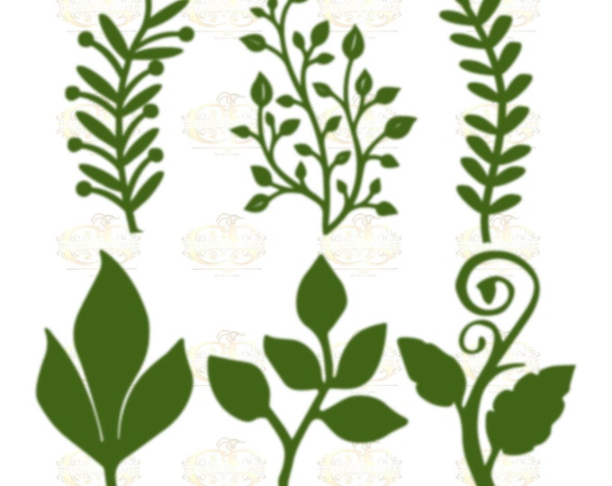 Set 28 Svg Png Dxf 6 different Leaves for Giant Paper Flowers MACHINE use Only Cricut and Silhouette DIY and Handmade Leaves Templates