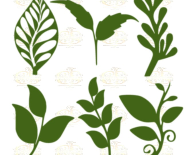 Set 24 Svg Png Dxf 6 different Leaves for Giant Paper Flowers MACHINE use Only Cricut and Silhouette DIY and Handmade Leaves Templates