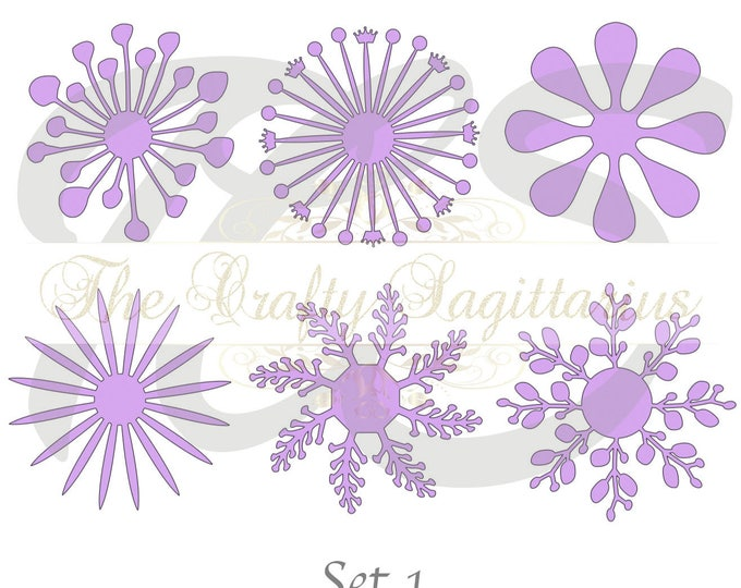 SVG Set 1-6 different Flat Center for Paper Flowers- MACHINE use Only (Cricut and Silhouette) DIY and Handmade Giant Paper Flower Templates