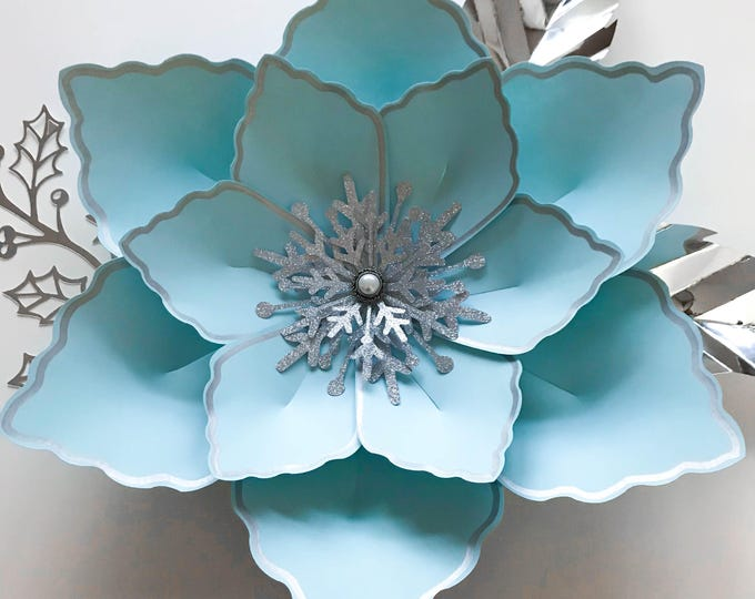Paper Flowers PDF Petal #12 Paper Flower Template Digital Version Including The Base Printable for trace and Cut instant download templates