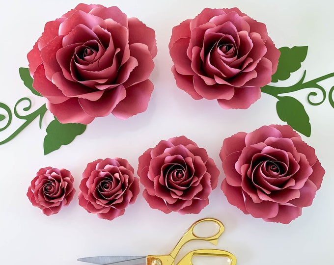 "SVG Paper Flowers Tiny Rose #12 Template in multiple sizes Digital SVG DXF Version, Cricut and Silhouette machine Ready 2.25"" - 7.5"" Roses"