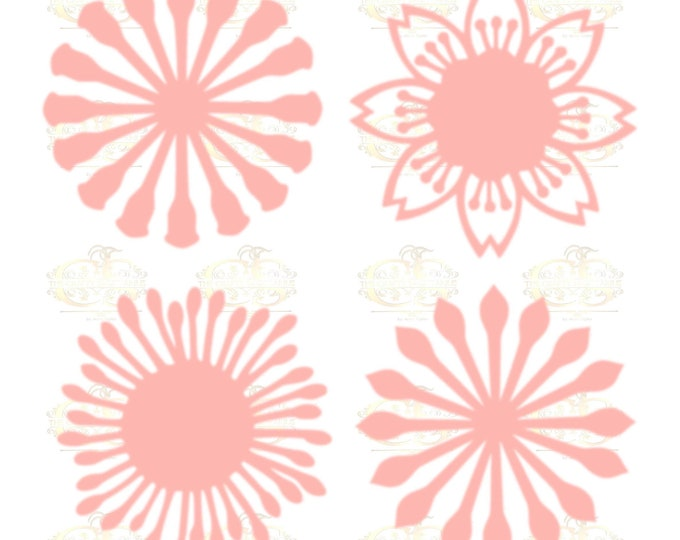 Set 7 SVG Png Dxf 4 different Flat Center for Paper Flowers- MACHINE use Only  DIY and Handmade Giant Paper Flower Templates