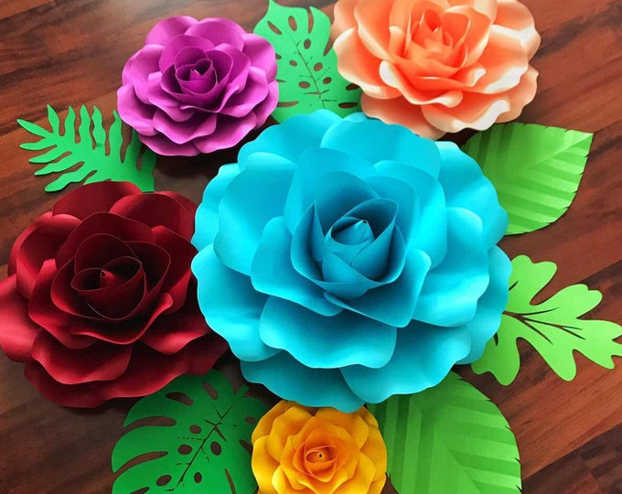 Paper Flowers -SVG Large Rose Petal Template, Digital Version -  18 to 20 Inches Diameter - Cricut and Silhouette Ready