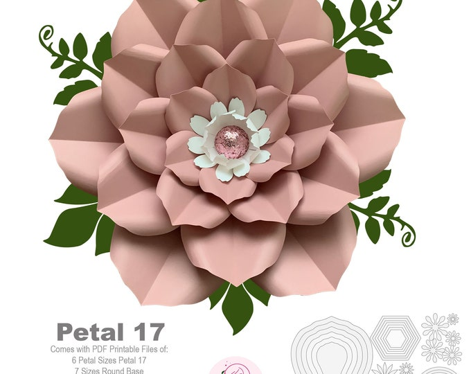 Petal 17 PDF Printable Giant DIY Paper Flower Templates Wedding Decor Events Birthdays Flat Center and Bases are Included w/ Video Tutorial
