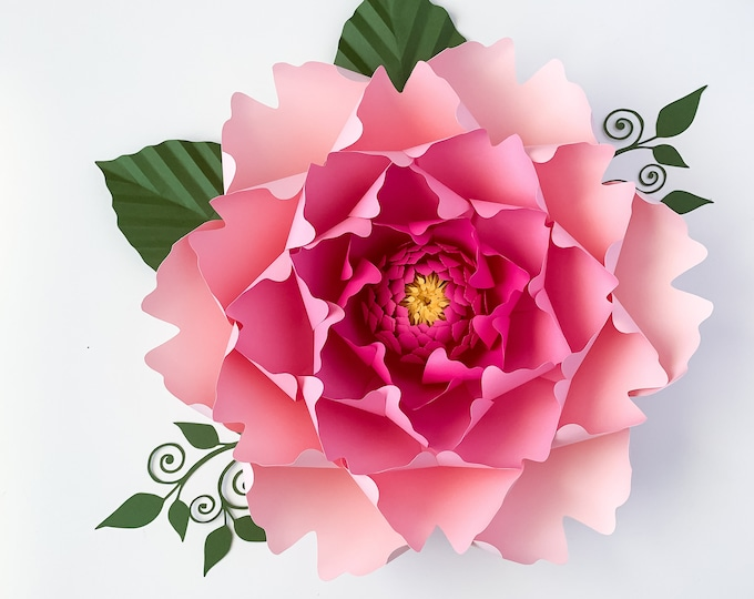 Paper Flowers -SVG Petal #13 Paper Flower Template with Base, DIGITAL file for Cutting Machines Such as Cricut and Silhouette Cameo
