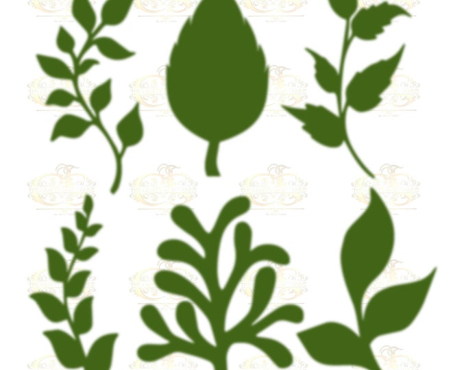 Set 27 Svg Png Dxf 6 different Leaves for Giant Paper Flowers MACHINE use Only Cricut and Silhouette DIY and Handmade Leaves Templates