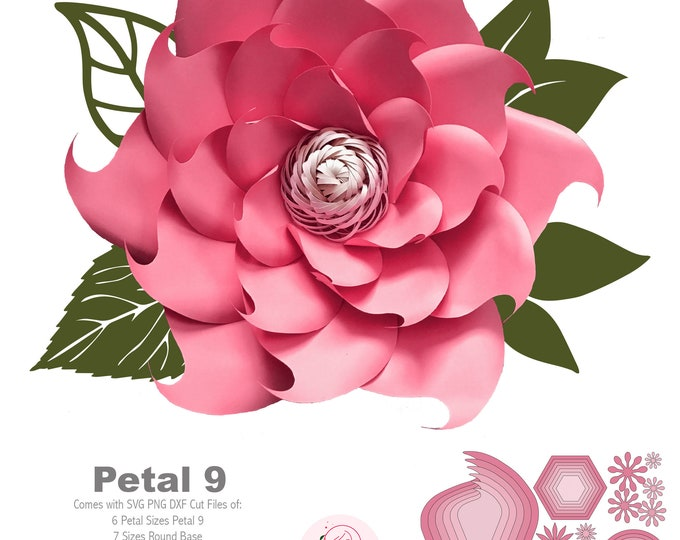 SVG PNG DXF Petal 9 Paper Flowers Template For Cutting Machine + Flat Center Diy Giant Paper Flowers Wall Backdrop for Events and Wedding