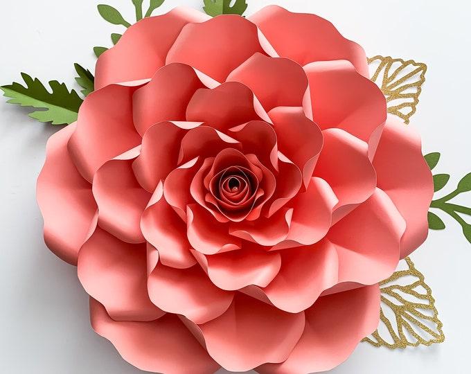 PDF Petal 36 Paper Flower template w/ Rose Bub Center, Digital Version, Original  by Annie Rose, Cut & Trace Stencil. DIY 19-23 inches Rose