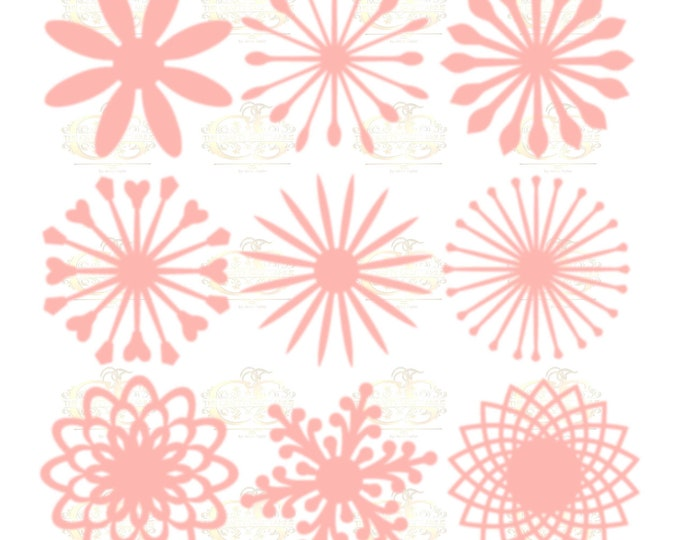 Set 9 SVG Png Dxf 9 different Flat Center for Paper Flowers- MACHINE use Only DIY and Handmade Giant Paper Flower Templates