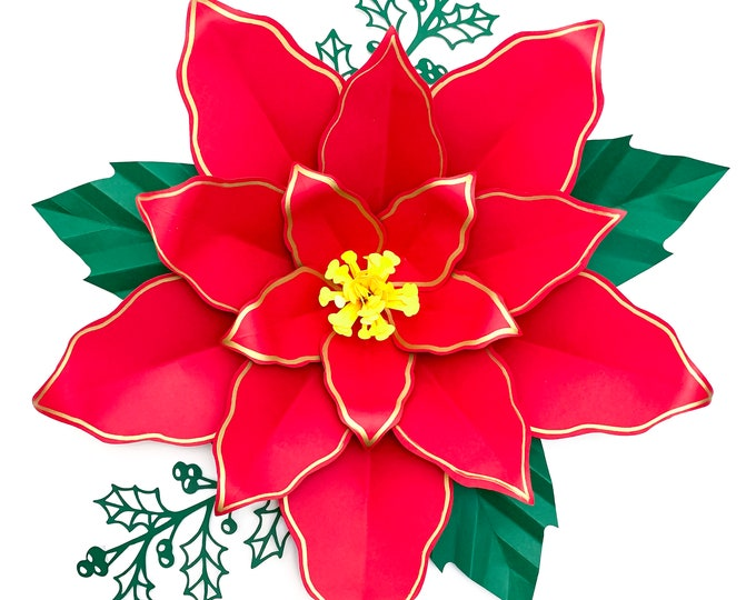 "SVG PNG DXF 16"" Poinsettia 4 Paper Flowers Template Cricut Silhouette Cutting Machines Ready for Christmas Diy Decorations Projects"