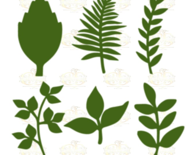 Set 32 Svg Png Dxf 6 different Leaves for Giant Paper Flowers MACHINE use Only Cricut and Silhouette DIY and Handmade Leaves Templates