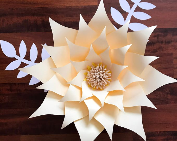 Paper Flowers -PDF Petal #89 Paper Flower Template with Base, DIGITAL Version - The Sunburst, Original Design by Annie Rose