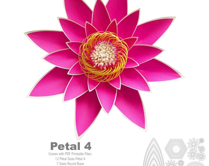 PDF Petal 4 Paper Flowers Template with Base & Flat Center Printable Trace and Cut File for DIY Giant Paper Flowers for event and Wedding