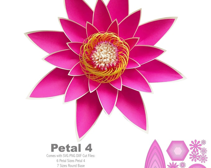 SVG PNG DXF Petal 4 Paper Flowers Template Bases n Flat Centers Included for Cutting Machines Cricut Silhouette Cameo Wedding n Events